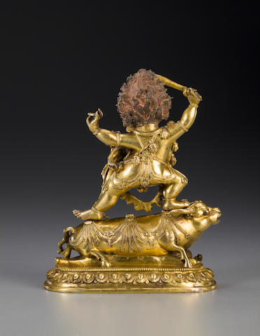 A gilt copper alloy figure of Yama Dhamaraja and Chamundi Tibet, 17th/18th century