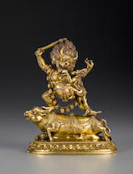 A gilt copper alloy figure of Yama and Yamani Tibet, 17th/18th century