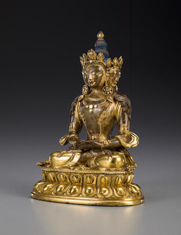 A gilt copper alloy figure of a XXXXXX bodhisattva Qing Dynasty, 18th century