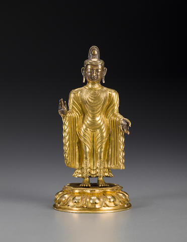 A gilt copper alloy of Buddha MONGOLIAN OR SINO-TIBETAN, 18th century