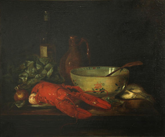 Dutch School, 19th Century A still life with a lobster, porcelain bowl and an earthenware jug 20 1/4 x 24in