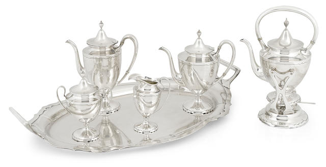 An American  sterling silver  five-piece tea and coffee service, together with matching two-handled tray by Shreve & Co., San Francisco,  mid-20th century