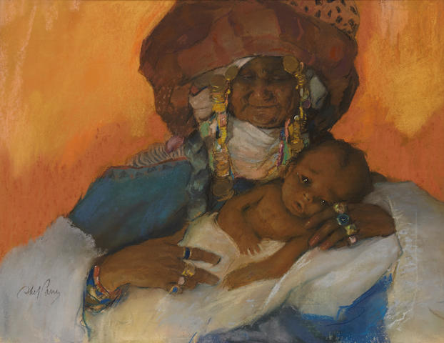 Abel Pann (Israeli, 1883-1963), Hagar and Ishamel, signed (lower left), pastel on paper, 17 x 23in (sight)