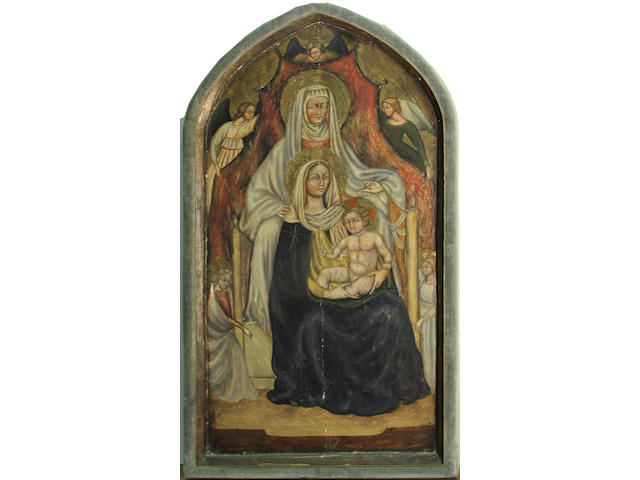After (Tommaso di Giovanni di Simone Guidi) Masaccio The Virgin and Child with Saint Anne engaged frame, arched top, 30 1/2 x 17 1/2in