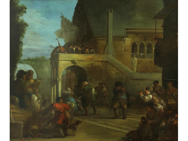 Attributed to Giuseppe Bernardino Bison (Palmanova 1762-1844 Milan) A skirmish in a courtyard 18 x 21 1/2in