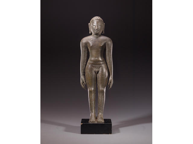 A copper alloy figure of a Digambara Jina Karnataka or Tamil Nadu, 9th century