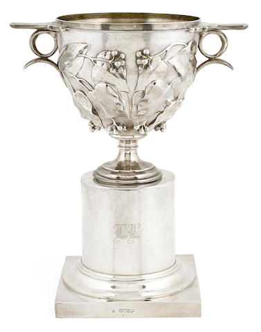 A Victorian  sterling silver foliate-decorated two-handled urn on pedestal by Edward & John Barnard, London; retailed by Thomas', New Bond St., 1867