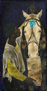 Joseph Hirsch (American, 1910-1981) Man and Beast 15 x 8in