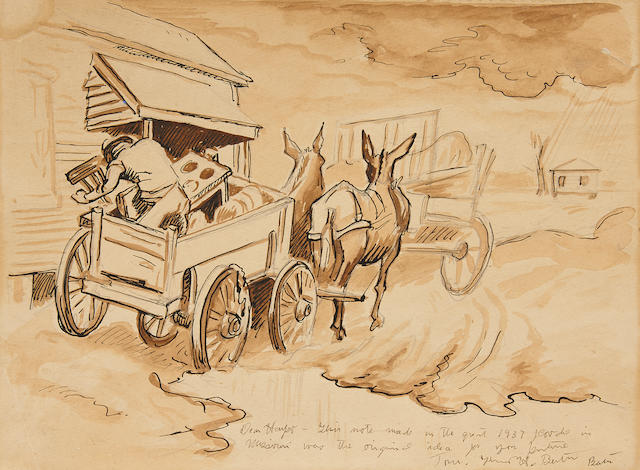 "Thomas Hart Benton (1889-1975) Study for ""Spring on the Missouri"" 9 x 12in"