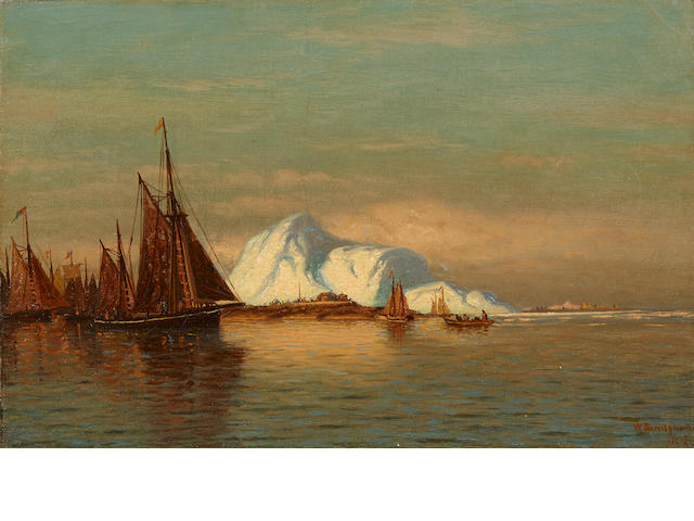 William Bradford (American, 1823-1892) Whalers off an arctic village 9 1/2 x 14 1/4in