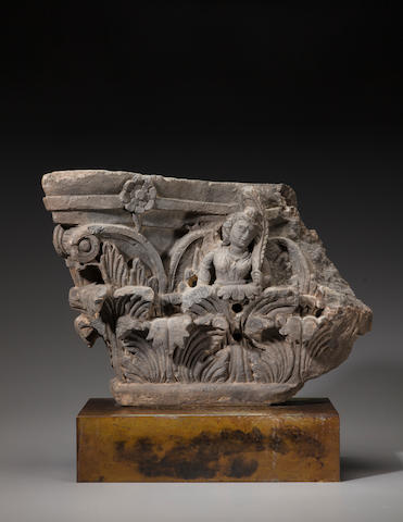 A schist architectural panel with a garland bearer Ancient Region of Gandhara, 2nd/3rd century