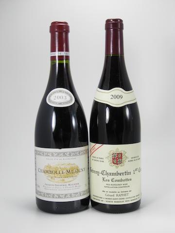 Chambolle Musigny, J-F Mugnier 2003 (8)<BR />Gevrey-Chambertin, Les Combottes Cuvée Unique, G. Raphet 2009 (4)