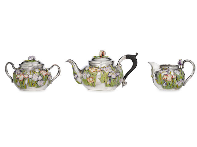 An enameled silver iris tea service By Mitsuyuki, Meiji period (circa 1900)