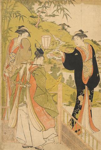 Torii Kiyonaga (1752-1815)<BR />One woodblock print