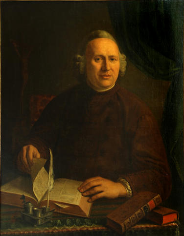 Johannes Petrus van Horstok (Dutch, 1745-1825) A portrait of a cleric, thought to be Peter van Hove 35 x 27in