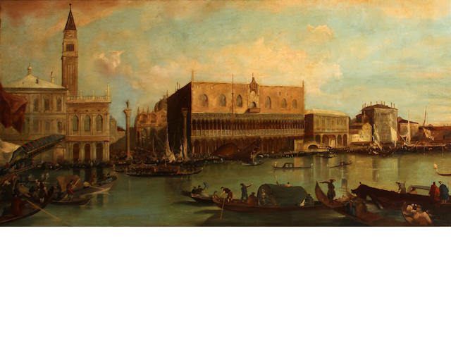 Manner of Francesco Guardi The Piazzetta and the Palazzo Ducale from the Bacino di San Marco 34 1/4 x 68in