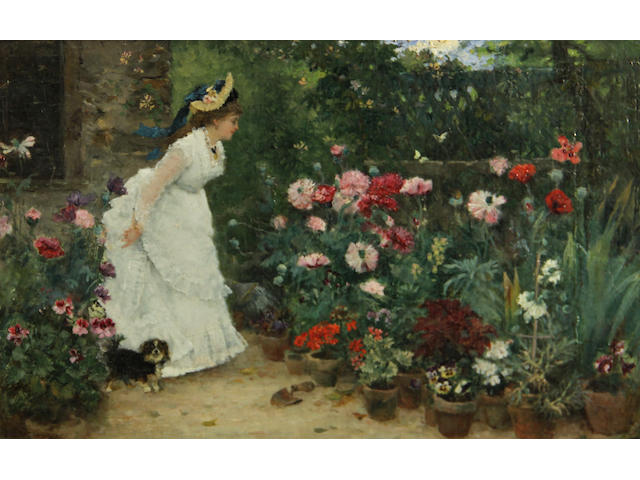 Attributed to Armand Charnay (French, 1844-1916) In the garden 7 1/4 x 11in
