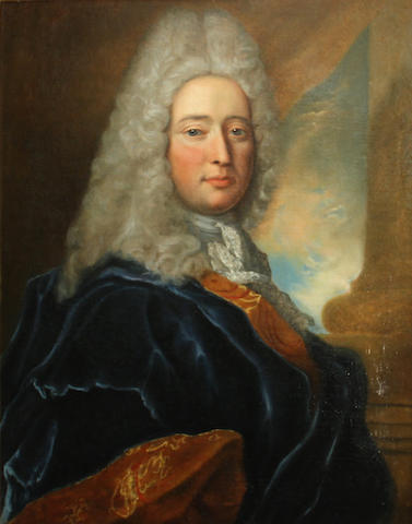 Manner of Jean François de Troy A portrait of a gentleman 32 1/4 x 26in