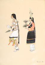 Four Pueblo gouaches