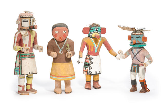 Four Hopi kachina dolls