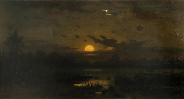 Frederick Ferdinand Schafer (German/American, 1839-1927) Moonrise on the Sacramento River 20 x 36in