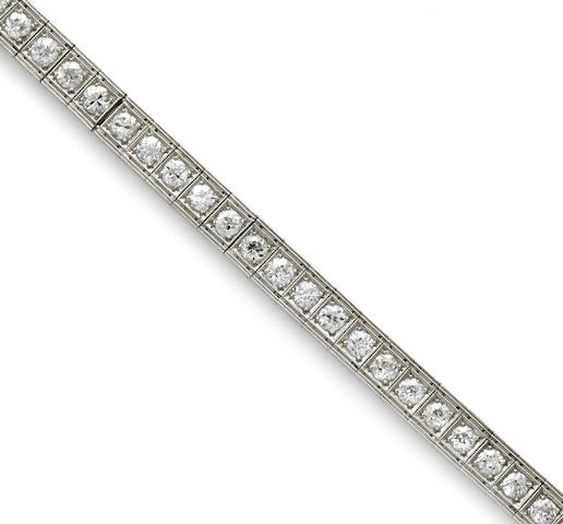 An art deco diamond straight line bracelet,