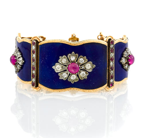 An antique ruby, diamond and enamel bracelet,
