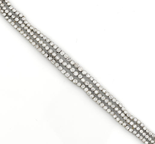 A diamond three row bracelet
