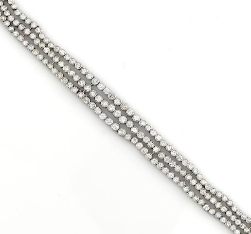 A diamond three row bracelet