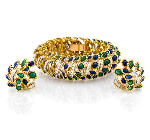A diamond and enamel bracelet together with a pair of coordinating earclips