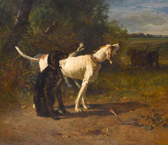 Constant Troyon (French, 1810-1865) Hounds in a Wooded Landscape 34 x 39 1/2in. (86.4 x 100.3cm.)