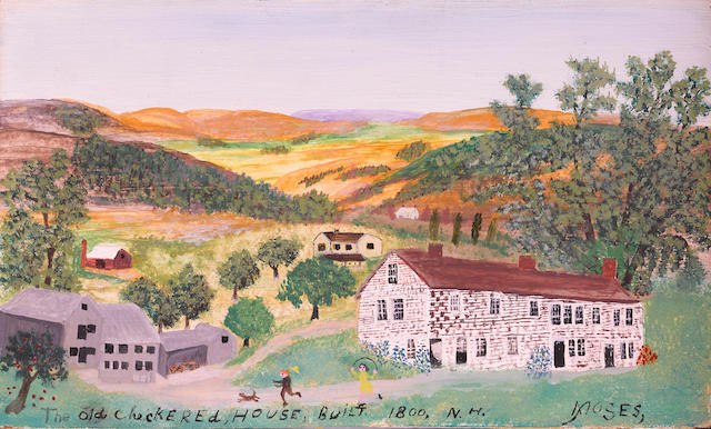Grandma Moses (American, 1860-1961) The Checkered House of N.H, 1800 8 x 13in