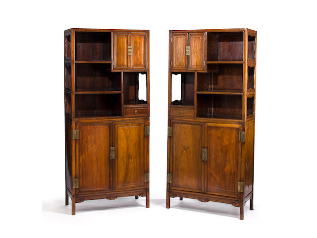 A pair of huanghuali and mixed hardwood display cabinets 18th/19th century