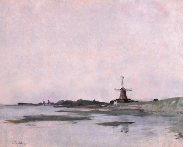 John Henry Twachtman (American, 1853-1902) Dutch Landscape 21 x 26in