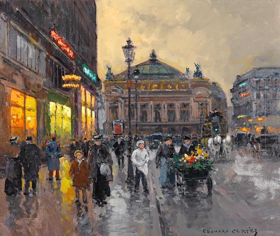 Edouard Henri Leon Cortès (French, 1882-1969) La Place de l'Opéra 18 x 21 1/2in (45.7 x 54.6cm)
