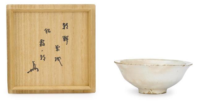 A stoneware tea bowl named Akebono (frosty morning) Edo period (17th century)