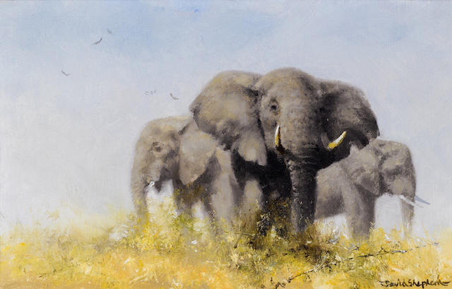 David Shepherd, O.B.E. (British, born 1931) Three African elephants 7 x 11in (17.8 x 28cm)