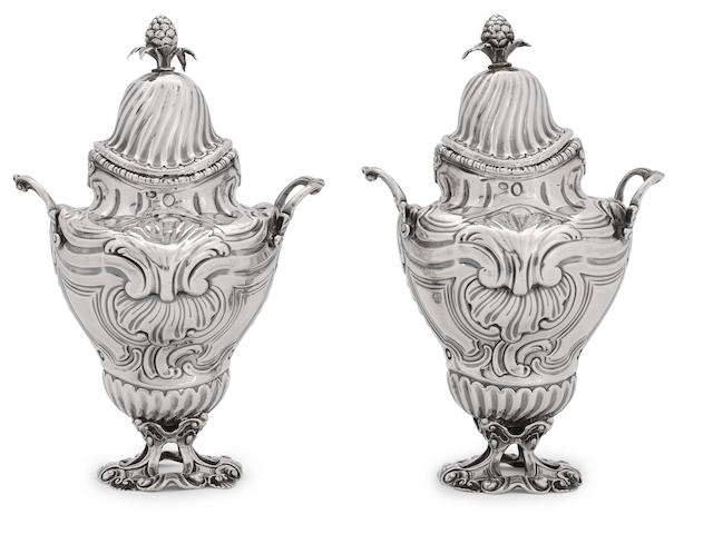 A pair of early George III sterling silver covered two-handled condiment vases <BR />probably by Lewis Herne & Francis Butty, London, 1762, and with Belgian import marks