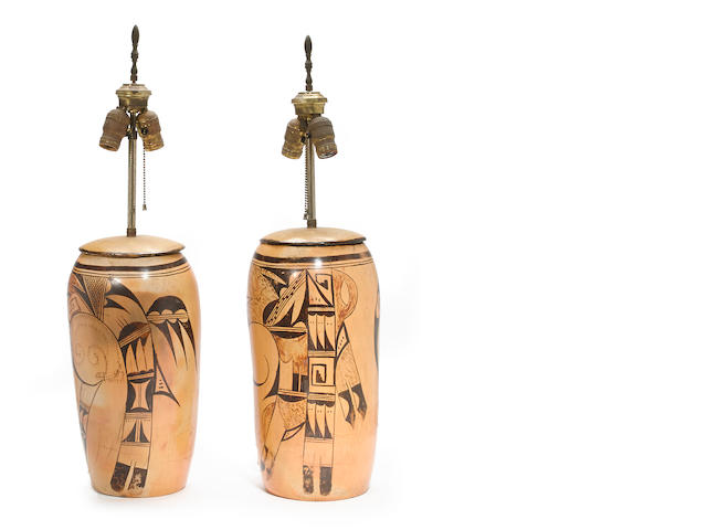 A pair of Hopi cylinder jars now mounted as lamps