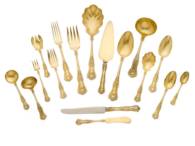 An American  sterling silver-gilt  part flatware service for eighteen  by Wallace & Sons Mfg. Co., Wallingford, CT, first half 20th century