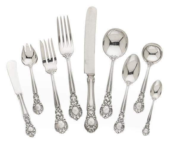 An American  sterling silver  part flatware service for twelve by Gorham Mfg. Co., Providence, RI, 20th century