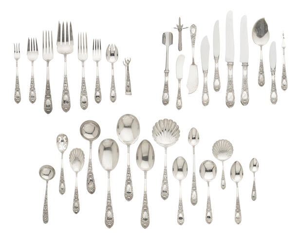 An assembled American  sterling silver  floral-repousse-decorated part flatware service for twelve by S. Kirk & Son, Baltimore, MD, second quarter 20th century