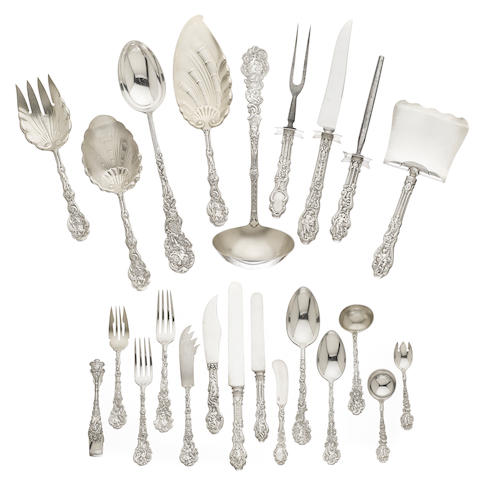 An American sterling silver part flatware service for twelve by Gorham Mfg. Co., Providence, RI, late 19th / early 20th century