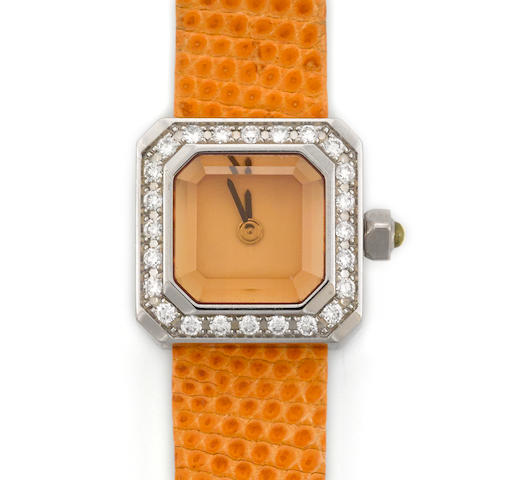 "A diamond and stainless steel ""sugar cube"" wristwatch with leather strap, Corum"