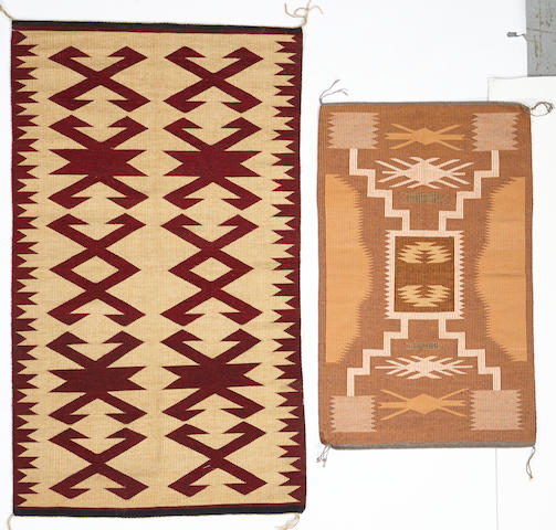 Two Navajo raised-outline rugs