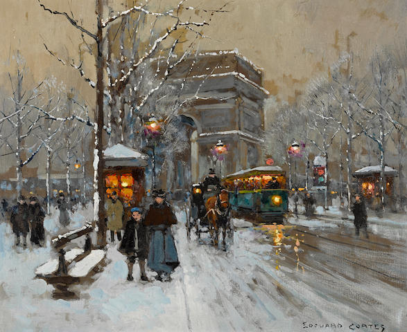 Edouard Henri Leon Cortès (French, 1882-1969) The Arc de Triomphe in winter 18 x 21 3/4in (45.7 x 55.3cm)