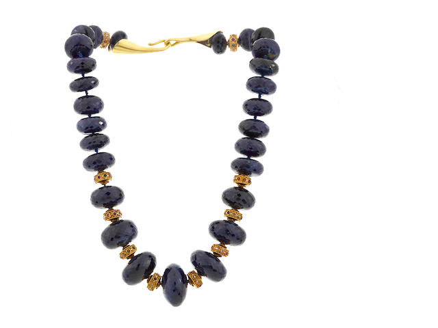 A sapphire bead and gem-set necklace
