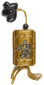 A fine four-case gold lacquer and mixed metal sheath inro Edo period (19th century)