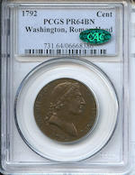 1792 Cent PR64BN PCGS Washington, Roman Head