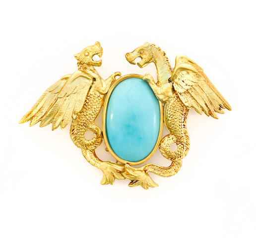 A turquoise and eighteen karat gold sea-wyvern pendant/brooch with diamond eyes, Ghalib Jewels